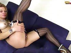 Big Boobs Blonde Masturbation Pantyhose Stockings