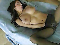 Big Boobs Brunette Lingerie Masturbation Stockings